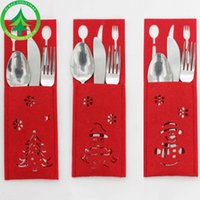Indoor Christmas Decoration Cloth None 8x15cm Christmas decoration restaurant hotel layout new non-woven old man snowman knife and fork bag creative tableware set