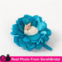 Wholesale Silk Carnation Wedding Bouquets - Free Shipping Real Images Beach Bouquets Bridal Brides Bridesmaid boutonniere Flowers Blue Shells Pearls for Grecian Greek Bohemian Wedding