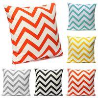 Wholesale Ripple Knitting - Ripple Chevron Zig Wave Linen Cotton Cushion Cover Home Decor Throw Pillow Case