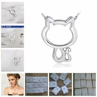Wholesale Vintage Cat Christmas Cards - Vintage Hollow Out 925 Silver Cat Pendant Necklace With Water Wave Chain And Velvet Jewelry Cards Gift Present Ball Prom Party Women