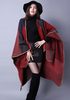 Wholesale Ladies Cloak Cotton - 5PCS autumn winter scarf grid woman travel shawls wool spinning ladies National intensification cloak 18colors cape christmas party cappa