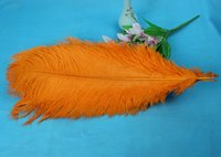 Venta al por mayor 10 PCS Natural Beautiful Orange Avestruz Feathers. Puntales de alta calidad de la boda de la pluma 45-50cm 18-20Inches envío gratis