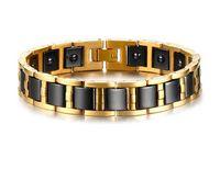 germanium magnetische armbänder großhandel-Männer Gold Hämatit Schwarz Keramik Magnetfeldtherapie Germanium Gesundheit Link Armband Verbessern Insomnia Therapie Armreif Schmuck B868S