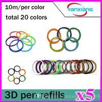 Wholesale Big Foot Art - 5pcs 3D Pen PLA Filament Refills 1.75mm 20 Different Colors x 10 Linear Feet Value Pack 200 ft. for Art, Design and Industrial YX-CL-01