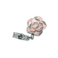Wholesale Crystal Flowers Holder - Retractable Fashionable Badge Holder Cute Adorable Bling Rhinestones Crystal Pink Flower Reels ID Card Clip Holders