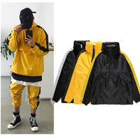 Wholesale black windbreak - autumn winter fashion mens oversized vintage side stripe windbreak jackets hiphop high street brand contrast color wind coat 2018