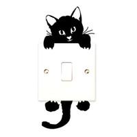 salon mührü toptan satış-DIY Komik Sevimli Siyah Kedi Anahtarı Çıkartması Duvar Kağıdı Duvar Çıkartmaları Ev Dekorasyon Yatak Odası Çocuk Odası Işık Salonu Dekor Sticker
