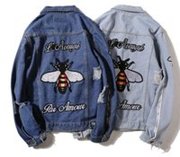 Wholesale Denim Jacket Puff - Europe and the United States Street hip-hop, fly embroidery hole break do old trend loose jeans jacket