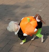 Wholesale Super Cute Coats - New Funny Dog Costumes Halloween Novel Pumpkin Pet Coat Fleece Small Dog Super Cute Costumes Fancy Pet Clothes hight quality free shipping