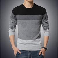 pullover 5xl männer großhandel-2016 neue Herbstmode Marke Casual Pullover Oansatz Gestreiften Slim Fit Stricken Herren Pullover Und Pullover Männer Pullover Männer 5XL