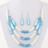 Wholesale Light Blue Statement Necklace - Fashion Bohemian African Beads Jewelry Set Vintage Jewelry Sets For Women Multi layer Crystal Statement Necklace Earrings Set