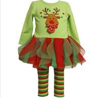 criança, menina, jogo, leggings, listra venda por atacado-Natal do bebê meninas vestido define tutu saias + stripe leggings conjuntos de crianças crianças de algodão boneco de neve ternos conjuntos de bebê vestido + calças 1 conjunto pacote SDF004