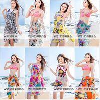 Wholesale Summer Wrap Skirts Wholesale - Chiffon Beach Smock Towel Wrap Bohemian Bikini Cover Ups Sarong Braces Skirt Beach Dress Sunscreen Shawl Beachwear Swimdress Scarf A734 30