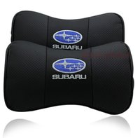Wholesale Cover Subaru Forester - 2 X Genuine Leather Car Headrest Pillow Neck Rest Pillow Seat Cushion Covers for Subaru LEGACY OUTBACK FORESTER Impreza WRX BRZ