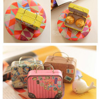 Wholesale Tin Boxes For Gifts - Creative 6 Styles Retro Tin Plate Suitcase Candy Boxes For Wedding Party Event Gift Sweet Boxes Wedding Favor Vintage Jewlery Box