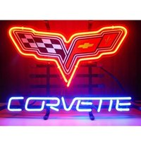 Wholesale Chevrolet Neon Signs - Brand New Chevrolet Corvette Graphic Glass Neon Sign New Full Color Chevy Corvette Collectible