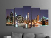 Wholesale Textured Oil Paintings - Framed 5 Panel Wall Art city Oil Painting On Canvas Textured Abstract Paintings Pictures Decor living room decoration pictures