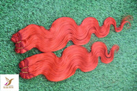 Wholesale coloured human hair for sale - Group buy The Most Beautiful Colour Red Virgin Brazilian Body Wave Hair Extension Human Remy Hair Weave A Double Weft Hair