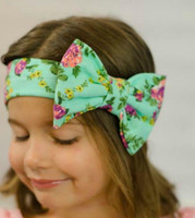Wholesale head band boho online - INS Boho Lovely Bunny Ear Headband Scarf Floral Headbands Hair Head Band Cotton BIG Bow elastic Knot Headband rabbit baby Bohemian
