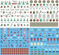 Wholesale Holiday Nail Art Stickers - 2016 Christmas nail stickers water transfer nail art decals of holiday gifts 10pcs lot free shipping