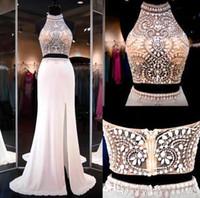imagens peça vestidos longos venda por atacado-Two Pieces Major Beading Gorgeous Prom Dresses 2017 Halter com Beading Sexy Back Split Side Long Vestidos de noite formais Imagem real BA2547