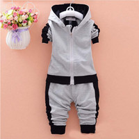 Wholesale Kids Casual Wear Boys - baby boys clothing sets children autumn winter wear cotton casual tracksuits kids clothes sports suit hot