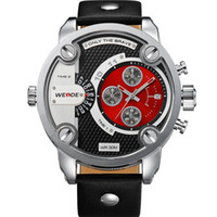 WEIDE 3301 Relógios Militares Quartz Big Dial Sports Watch Luxury Brand Leather Strap Famous impermeáveis ​​Oversize Relógio de pulso