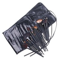 Wholesale Leather Makeup Brush Roll - DHL 32pcs Professional Makeup Brushes MC Brand Make Up Cosmetic Beauty Brush Set Kit Tool + Roll Up PU Leather Case