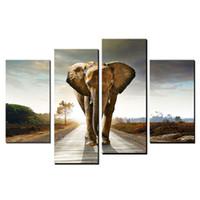 Wholesale Hanging Elephants Decoration - 4 Panel Modern Art Oil Paintings Big Elephant Walk Canvas Paintings for Wall Hanging Art Decoration
