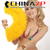 Wholesale Feather Fans Burlesque - CHINAZP Factory Selected Prime Quality Elegant Dyed Gold Marabou Feather Hand Fan costume fun act Burlesque Decor Dancing