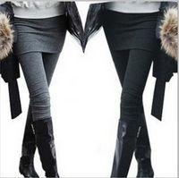Wholesale Two Leg Color Leggings - Women skirt legging Pants Mini Skirt Warm False Two Pieces leggings thin skirts Leggings spring autumn 2 In 1 Pants For Women