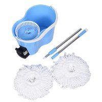 Wholesale Hoist System - Microfiber Spinning Mop Easy Floor Mop W Bucket 2 Heads 360 Rotating Head Blue
