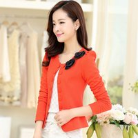 Wholesale Korean Womens Blazers - new Korean version Slim womens short coat Double-breasted small fragrant wind small suit