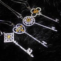 ingrosso collana di pendente giallo topaz-Argento 925 d'argento 925 Topaz CZ Pave Set fiore cuore grande chiave pendente choker catena collana gioielli di marca