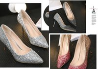 Wholesale Heels For Prom Cheap - 2017 New Arrival Wedding Shoes Siver Three Colors Heel High Quality Bling Sequins Wedding Dresses Shoes For Women Cheap Bridal Shoes Prom