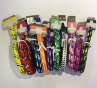 noodle flache iphone ladegerät kabel schnur großhandel-Heißes USB-umsponnenes Gewebe-Ladegerät-Daten-Synchronisations-Nylon-flaches Nudel-Kabel-Kabel 1M 2M für Iphone 5/6 Samsungs-Galaxie S6