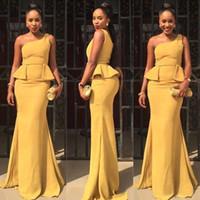 peplum stil formale kleider großhandel-2017 afrikanischen stil eine schulter meerjungfrau abendkleider sexy schößchen lange formale abendkleider nach maß