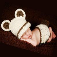 häkeln sie foto-stützen großhandel-Neugeborenes nettes Baby-Säuglingsbier-Fotografie-Requisiten-Häkelarbeit-Kleidungs-gesetzter Hut und kurze neugeborene Foto-Requisiten-Kostüm-gesetztes hübsches Geschenk