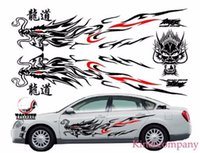 Wholesale White Car Hood Sticker - 1set black for Most Car Truck auto sport power Chinese Totem Dragon Graphics Side Decal Body Hood Sticker