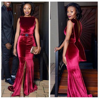 Wholesale Nude Jewels Sexy Cocktail Dresses - African Velvet Mermaid Evening Dresses Dark Red Front Split Backless Prom Dress sash beads Aso Ebi Black Girls Formal Cocktail Party Gowns