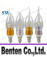 Argent / Or Led Candle Lamp 110V 220V Dimmable E12 E14 Led Ampoules Warm / Cool White 6 Leds SMD 5730 haute puissance LLFA11