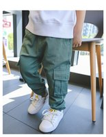 Wholesale Elastic Boys Pant Khaki - Children fashion pants boys cotton big double pockets trousers 2017 new autumn kids casual clothes green khaki blue C1101