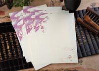 papel de tinta china al por mayor-Venta al por mayor- 2017 Sobre 32pcs / lot Nuevo estilo chino de la vendimia Pintura de tinta en color carta de papel ordinario Hermoso estampado de flores Wz