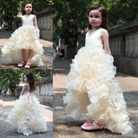 Wholesale Yellow Organza Flower Dance Dress - 2016 New Fashion Hi Lo Girls' Pageant Dresses Kids' V Neck Ruffles Organza Wedding Flower Girl's Dancing Gowns A Line Christmas Dresses
