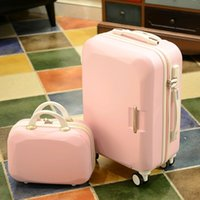 "Wholesale Trolley Luggage Bags For Girls - New 14""+ 20"" 8-color ABS trolley bags rolling luggage sets kids travel bag case suitcase for girls valise enfant suitcases hard shell"