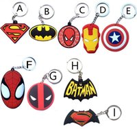 Wholesale Keyring Wedding Favors - Superhero Iron Man superman batman spiderman deadpool mask One Direction Zelda KeyChain keyrings bag hangs Movies key rings wedding favors