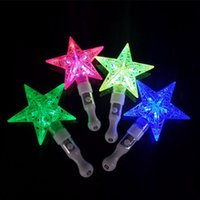 Wholesale small toys lighting online - LED Light Sticks Small Five Pointed Star Luminous Toy Four Colors Hollow Out Designs Flash Sticks For Party Decor qq B