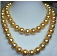 "Wholesale Genuine Pearl Pendant Gold Chain - WHOLESALE genuine 35"" 10-11 mm south sea golden pearl necklace 14K Gold Clasp"