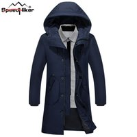 [Speed ​​Hiker] 2017 Inverno Giù Giacca Uomini Casual Long Thicken Warm con cappuccio Solid Duck giù Parkas Coat Cold Outwear Jacket