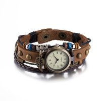 Wholesale Womens Vintage Brown Leather Watches - Hot Sale Vintage Retro Quartz Wristwatches Fashion Cow Leather Bracelets Bangles with Pendant Womens Girls Watches Luxury Jewelry Watches